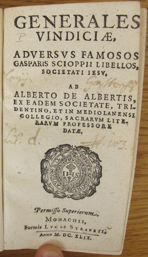 Alberto Alberti, Generales Vindiciae. Titelblatt mit Garstener Besitzvermerk (Linz, Oberösterreichische Landesbibliothek I-61511)
