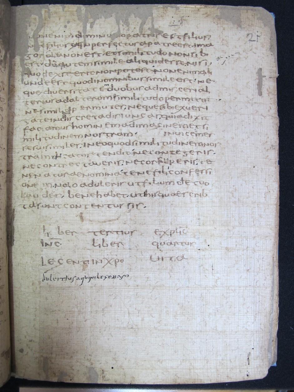 "ÖNB Cod. 2160* fol. 21r mit dem Korrektorvermerk ""Dulcitius Aquini legebam"""
