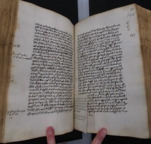 """ÖNB Cod. 4682, Bl. 147v-148r mit einer """"cedula"""" in der Hand von Dietrich von Hammelburg"""