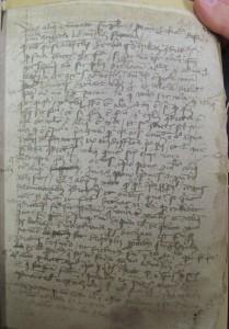 """""""Son objet même, ces manuscrits griboullés souvent jusqu'à la limite du déchiffrable, faisait office de repoussoir; ses chercheurs, en quête de méthodes et de modèles, et engouffrés dans le labyrinthe des brouillons, n'étaient d'aucune obédience, d'aucune fratrie."""" A. Grésillon, La critique génétique française: hasards et nécessités. ÖNB Cod. 4907, Bl. 443r: Skizze einer disputierten Frage, die aus der Periode vor 1420 das einzige Zeugnis für die Erwähnung des Begriffs der contingentia futurorum ad utrumlibet bildet"""