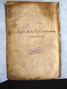 Digitalbild: Cod. hist. gr. 73, fol. 195v: Palimpsestierte, aber nicht wiederbeschriebene Seite. Neuzeitlicher Eintrag zum Kauf der Handschrift durch Ogier Ghiselin de Busbecq (1522-1592)
